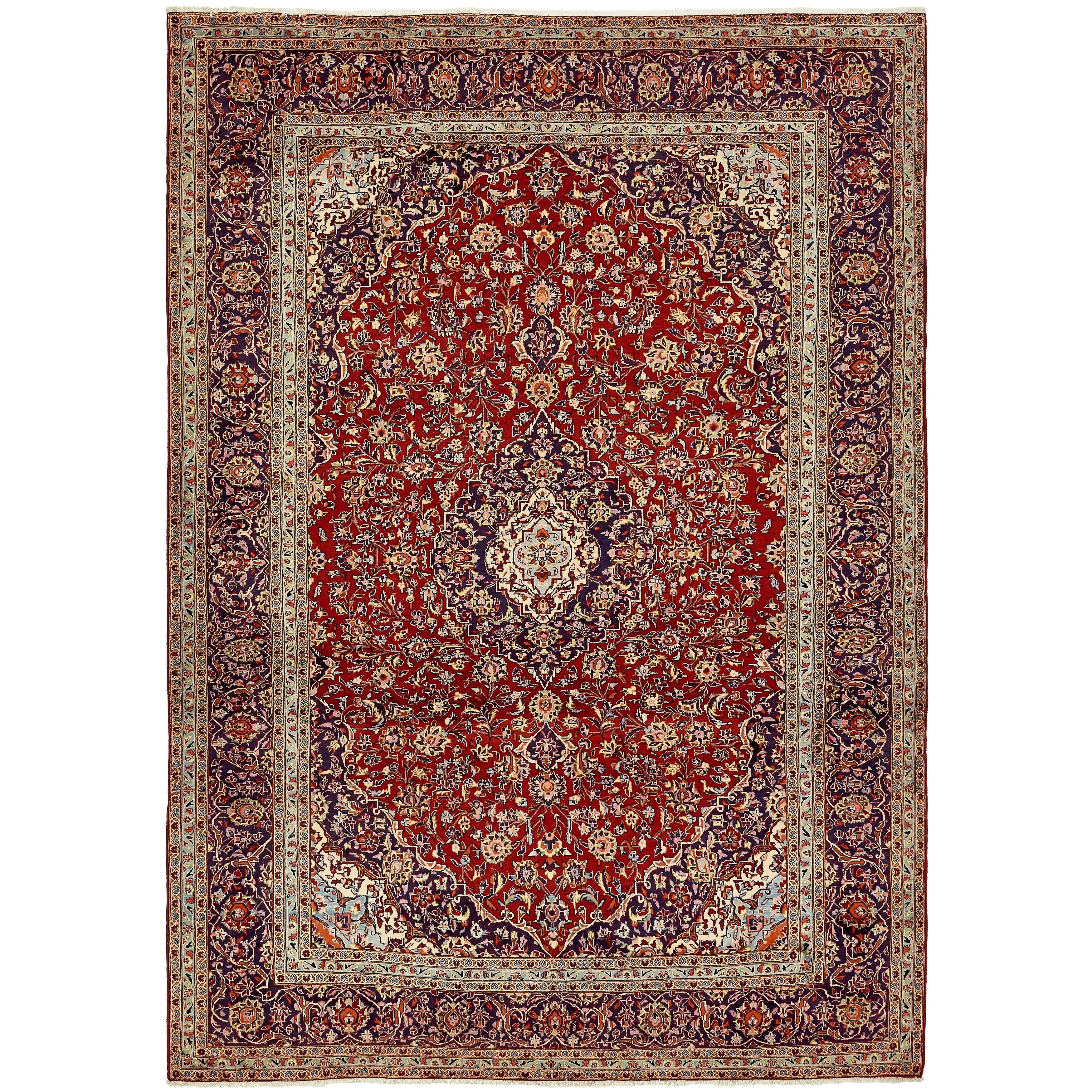 Hand Knotted Kashan Wool Area Rug - 9' 9 x 13' 8 (Red - 9' 9 x 13' 8)