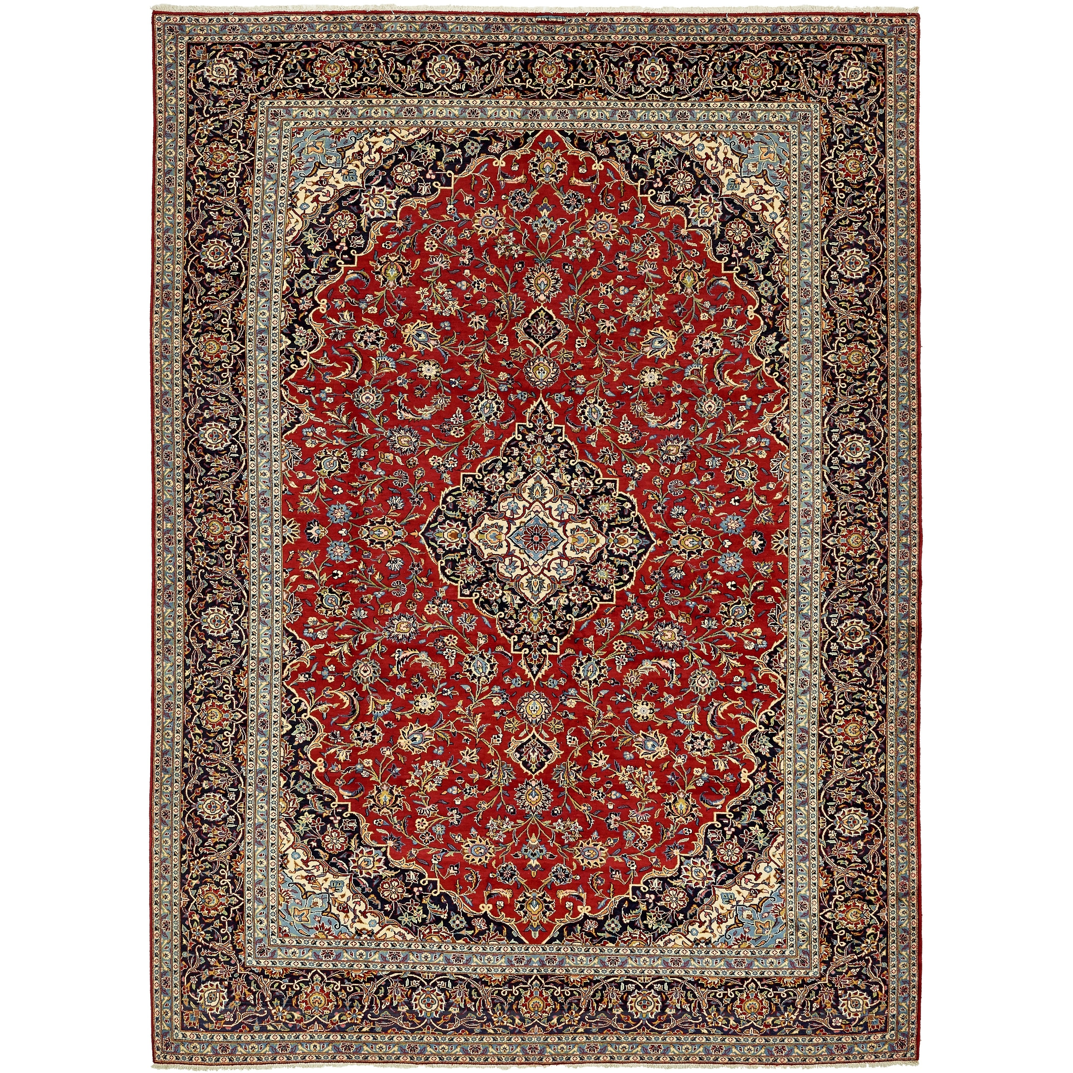 Hand Knotted Kashan Wool Area Rug - 9 10 x 13 5 (Red - 9 10 x 13 5)