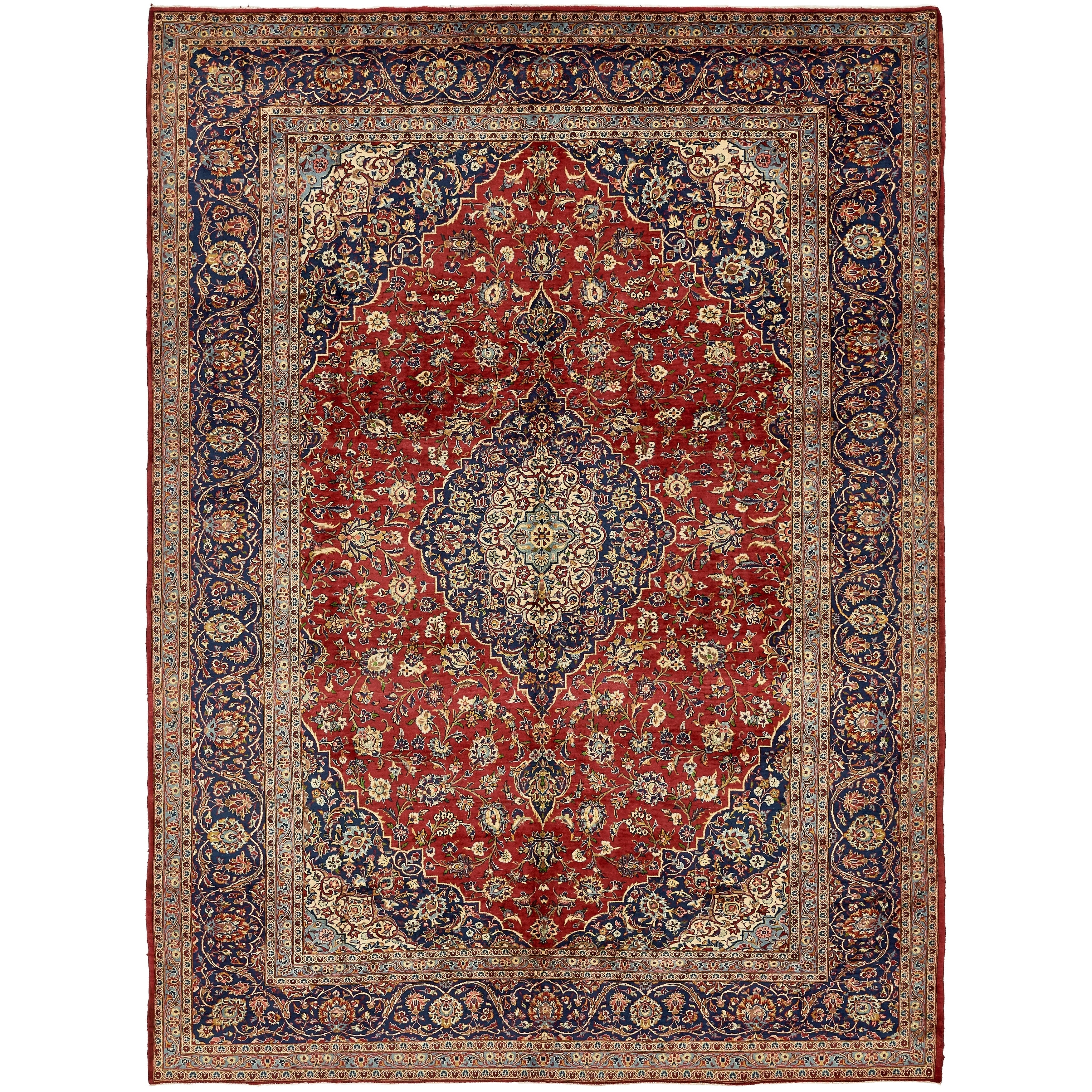 Hand Knotted Kashan Semi Antique Wool Area Rug - 9' 8 x 13' (Red - 9' 8 x 13')