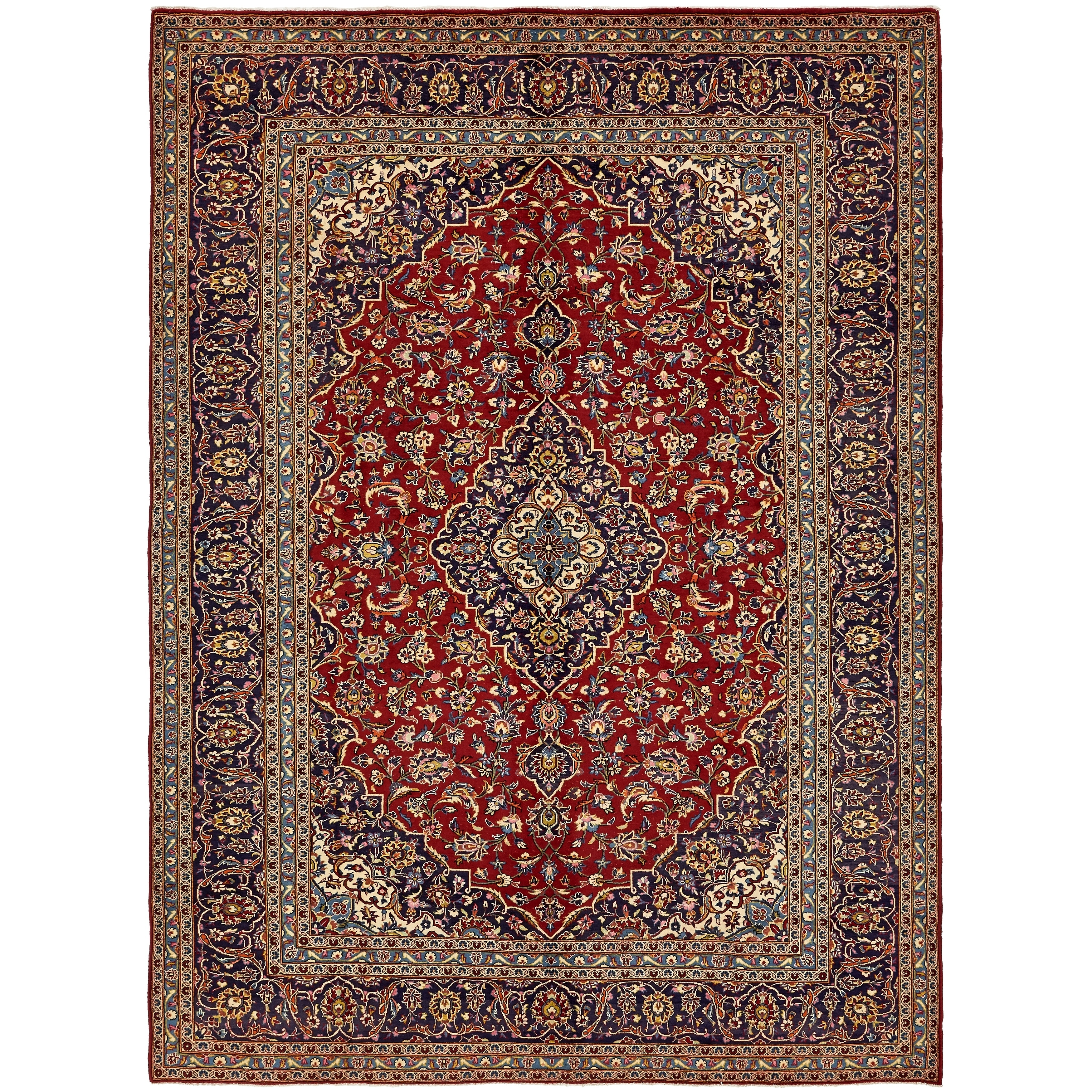 Hand Knotted Kashan Semi Antique Wool Area Rug - 9' 9 x 13' (Red - 9' 9 x 13')