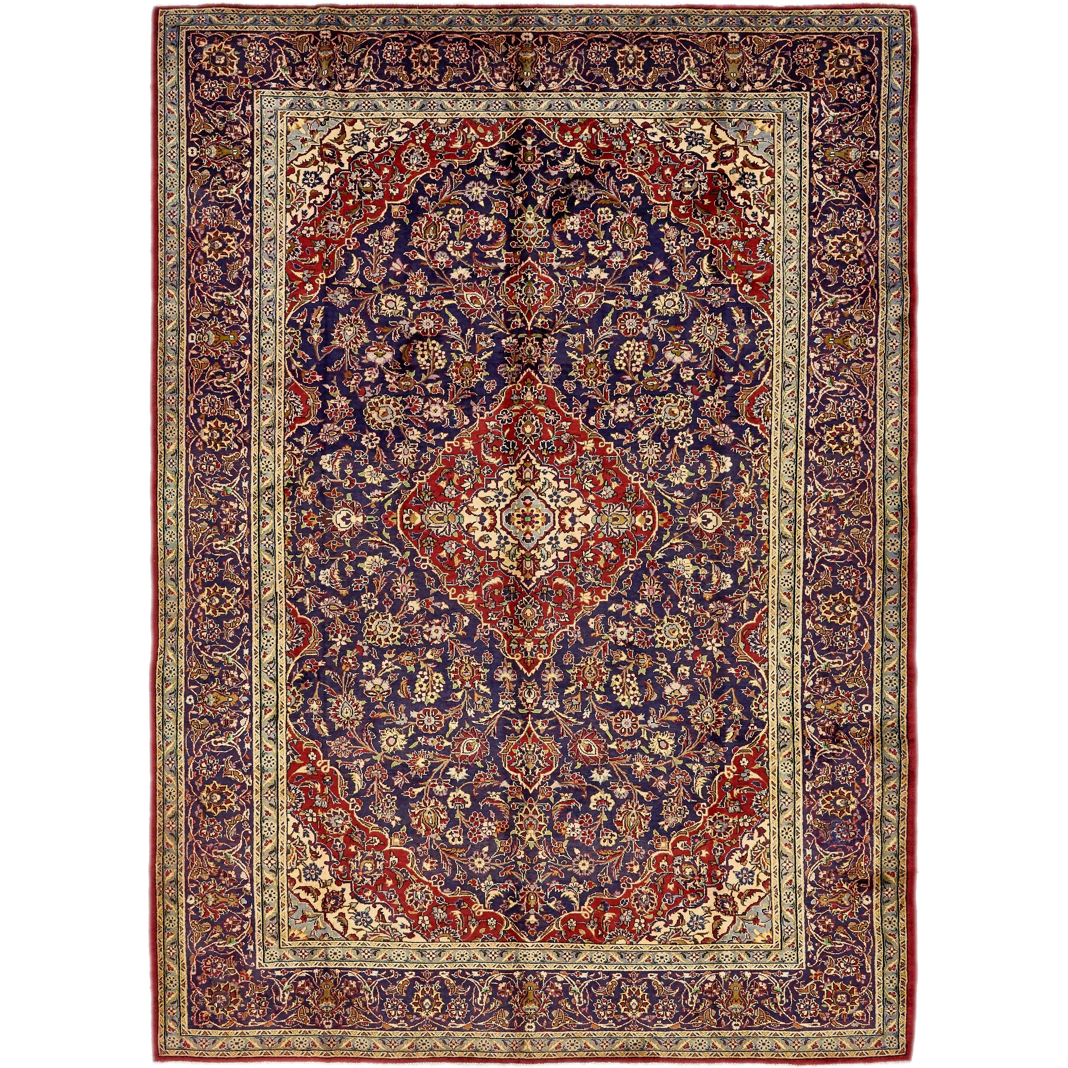Hand Knotted Kashan Semi Antique Wool Area Rug - 9 9 x 13 5 (Red - 9 9 x 13 5)