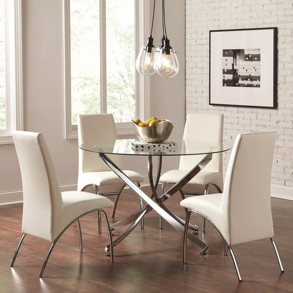 Mauna Tempered Glass Top Round Dining Table Set: Shop Modern Chrome Artistic Design 5-piece Round Dining