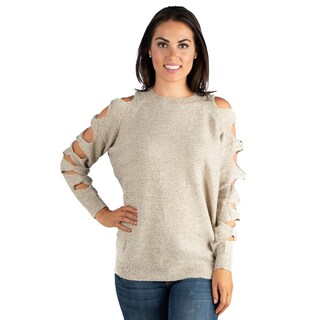 24/7 Comfort Apparel Women's Relaxed Fit Cut Out Sleeve Sweater Top