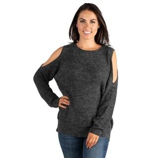 24/7 Comfort Apparel Women's Long Sleeve Cold Shoulder Sweater Top