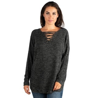 24/7 Comfort Apparel Women's Mock Lace-Up V-neck Sweater Top