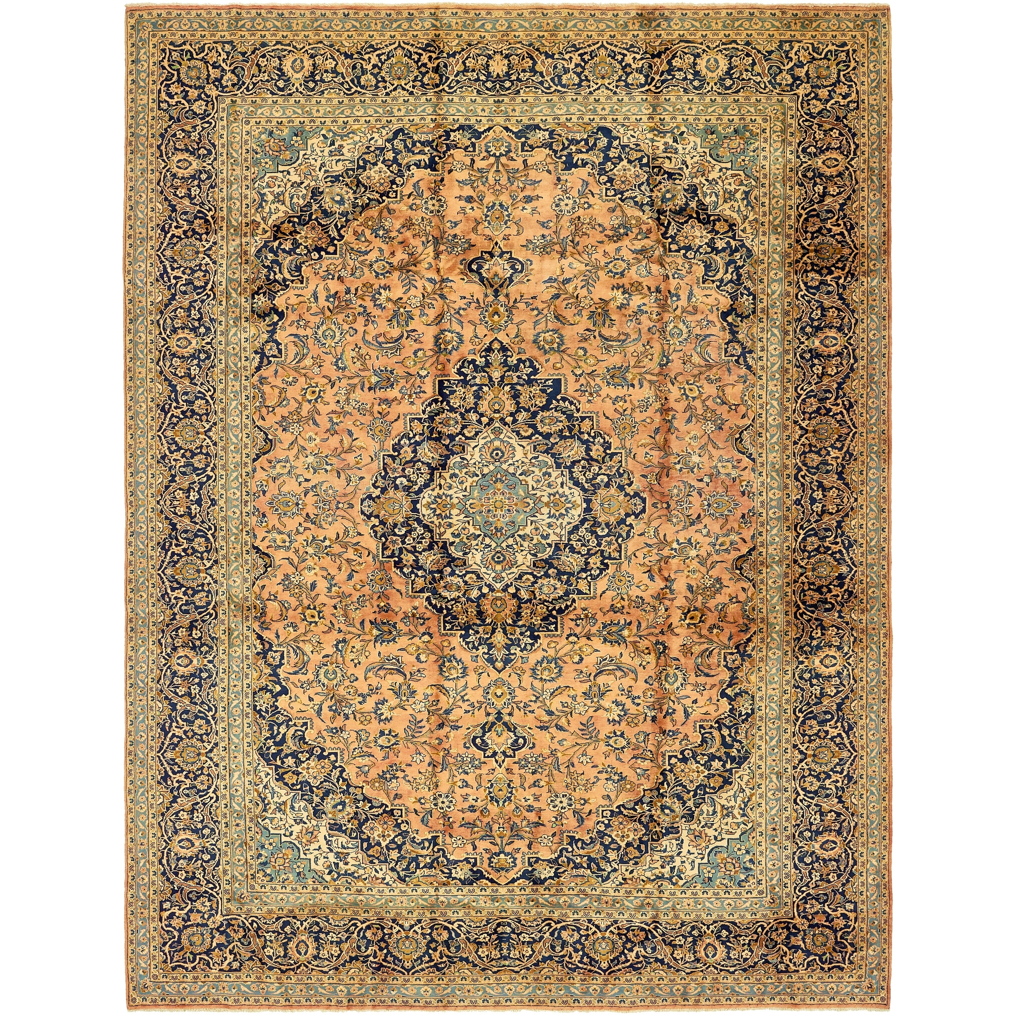 Hand Knotted Kashan Semi Antique Wool Area Rug - 9' 9 x 13' 4 (peach - 9' 9 x 13' 4)