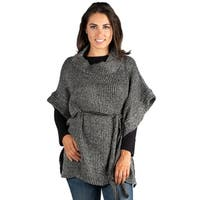 24/7 Comfort Apparel Women's Belted Poncho Sweater Top