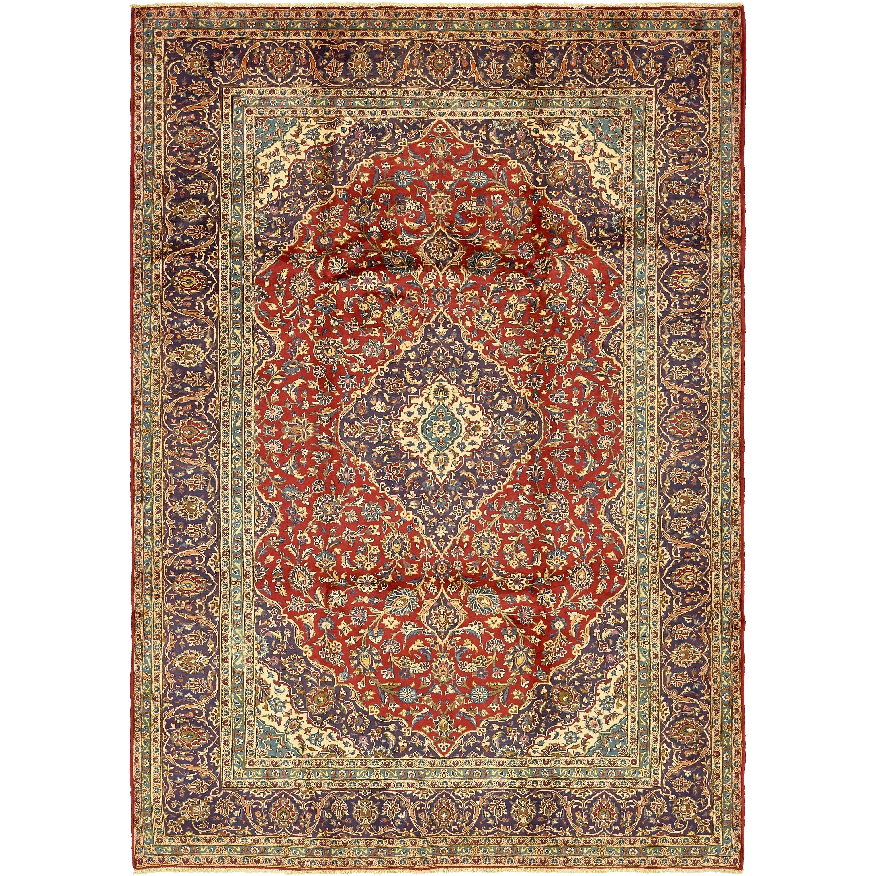 Hand Knotted Kashan Semi Antique Wool Area Rug - 8' 2 x 11' 9 (Red - 8' 2 x 11' 9)