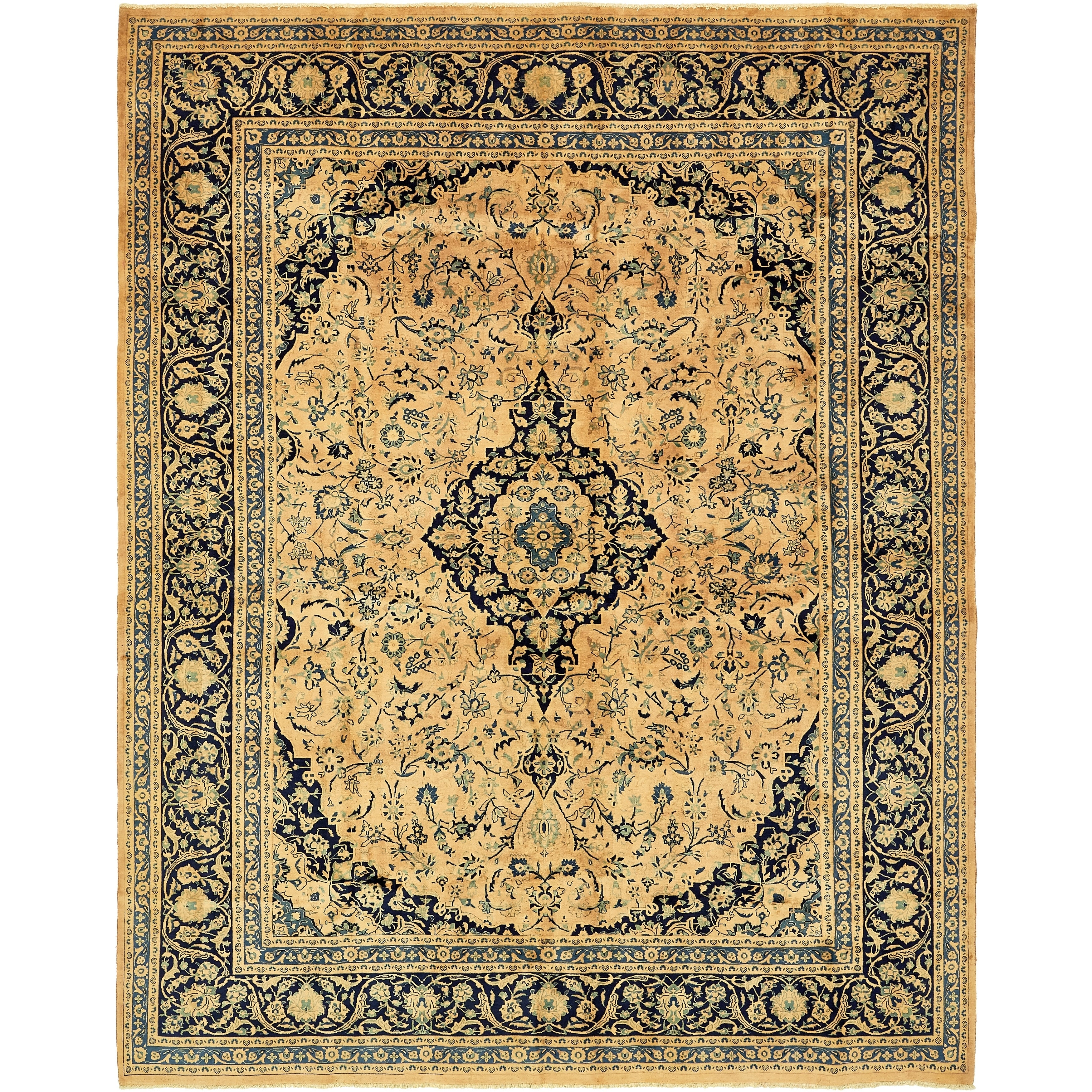 Hand Knotted Kashan Semi Antique Wool Area Rug - 9' 10 x 12' 6 (peach - 9' 10 x 12' 6)