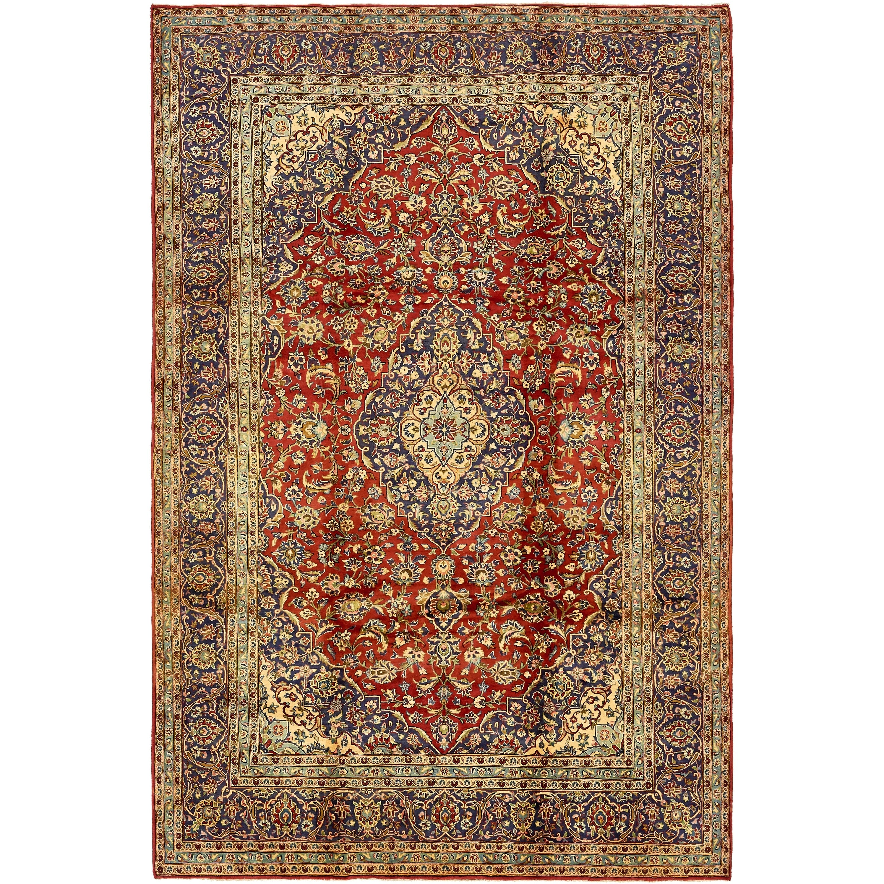 Hand Knotted Kashan Semi Antique Wool Area Rug - 8' 2 x 12' 4 (Red - 8' 2 x 12' 4)
