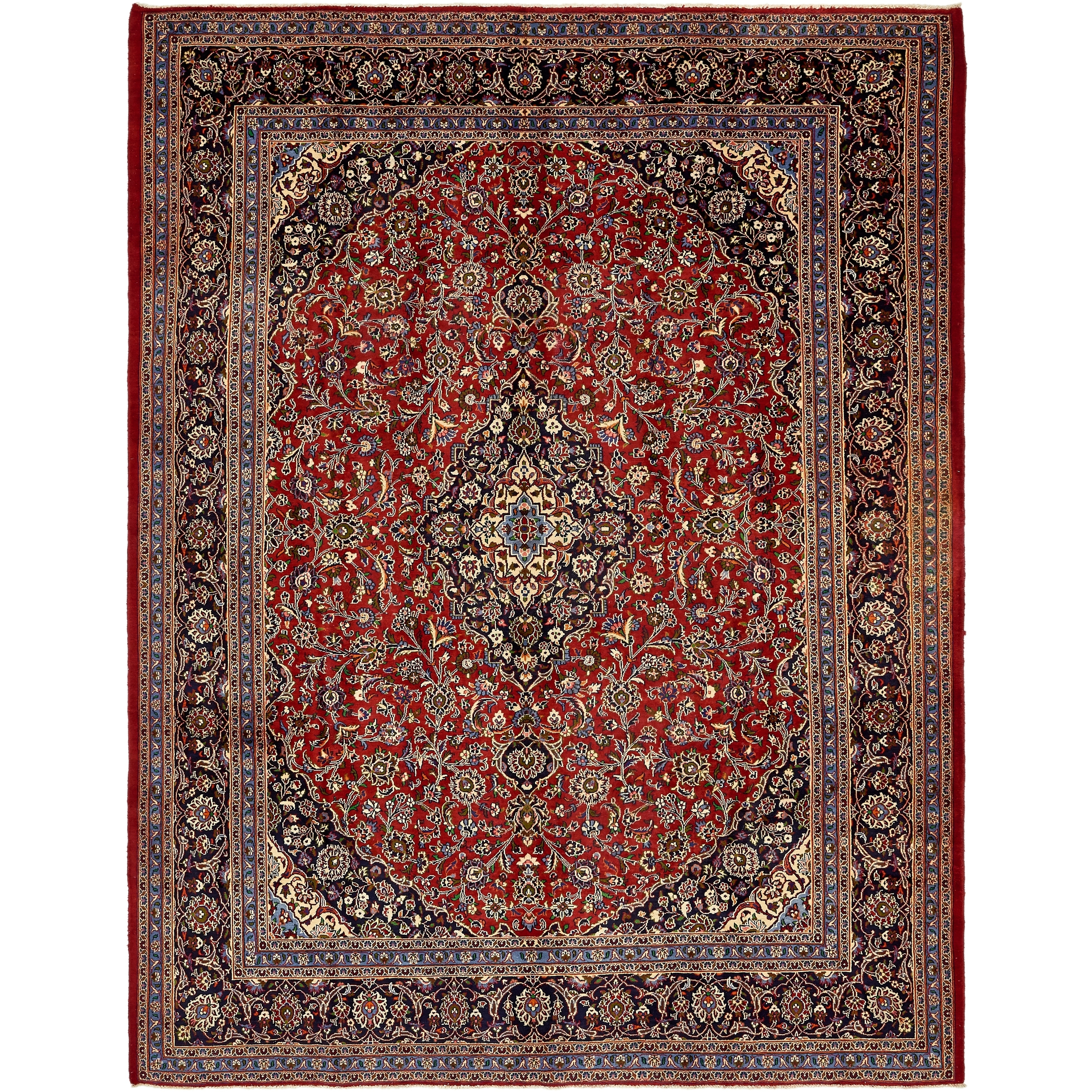 Hand Knotted Kashan Semi Antique Wool Area Rug - 9' 8 x 12' 10 (Red - 9' 8 x 12' 10)