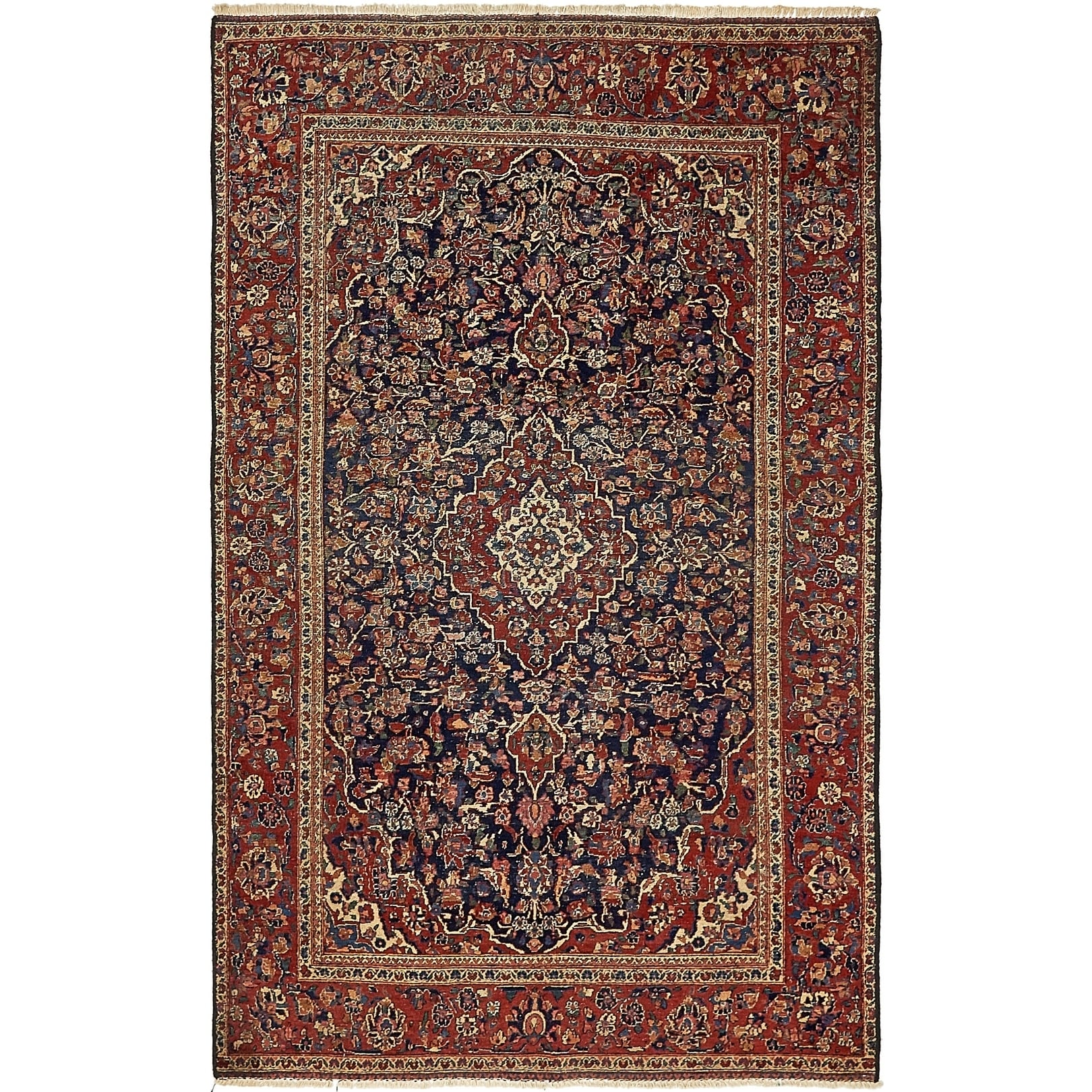 Hand Knotted Kashan Antique Wool Area Rug - 4' x 6' 7 (Navy blue - 4' x 6' 7)