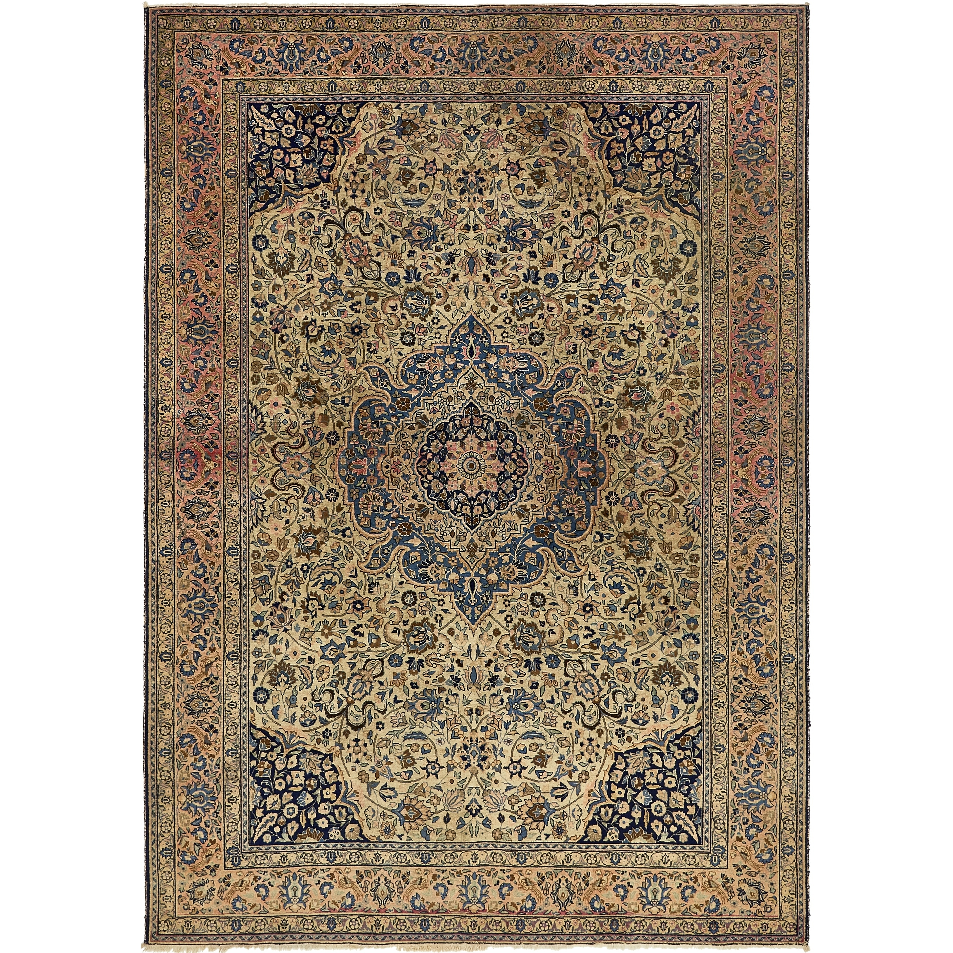 Hand Knotted Kashan Antique Wool Area Rug - 8' 2 x 11' 8 (Beige - 8' 2 x 11' 8)