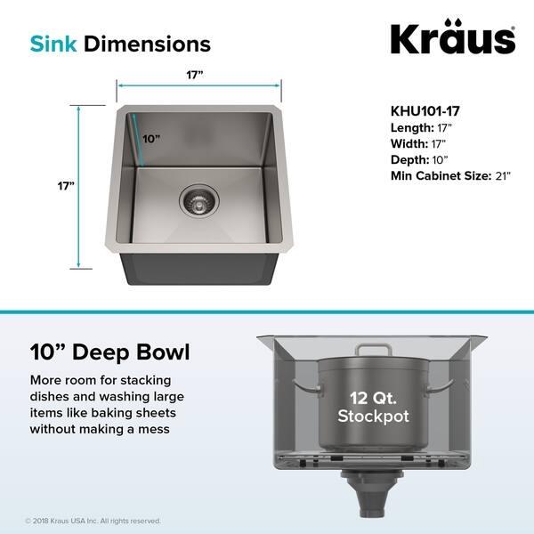 Terrific Shop Kraus Khu101 17 Undermount 17 Inch 1 Bowl Stainless Interior Design Ideas Inamawefileorg