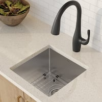 Kraus KHU101-17 Undermount 17-in 16G 1-Bowl Satin Stainless Steel Kitchen Sink, Strainer, Towel