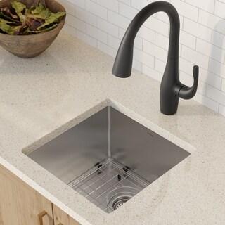KRAUS KHU101-17 Undermount 17 in. 1-Bowl Stainless Steel Kitchen Sink