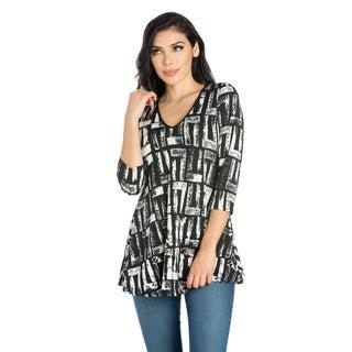 24/7 Comfort Apparel Women's three quarter Sleeve Tunic Top