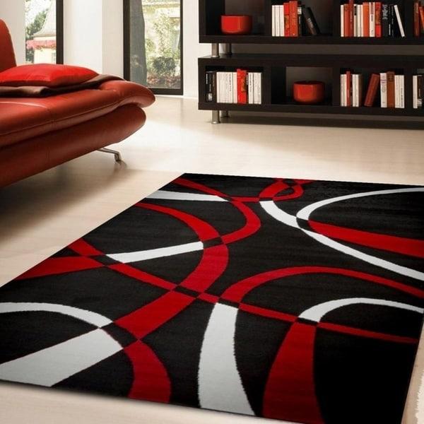 Shop Katelynn Black White Red Area Rug 8 X 10 Free Shipping