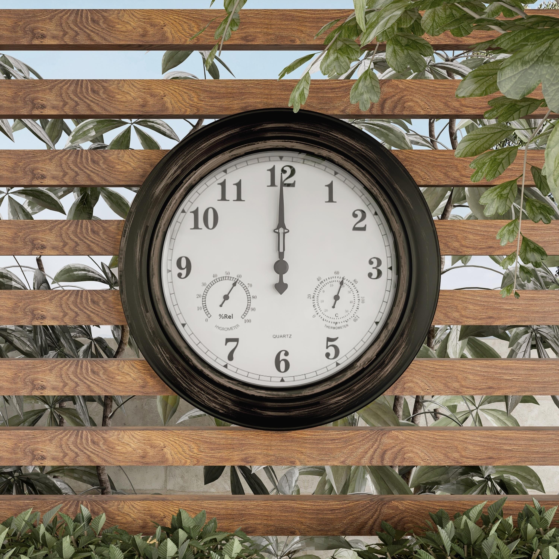 Round Bronze Indoor Outdoor Wall Patio Garden Clock Thermometer Home Decor