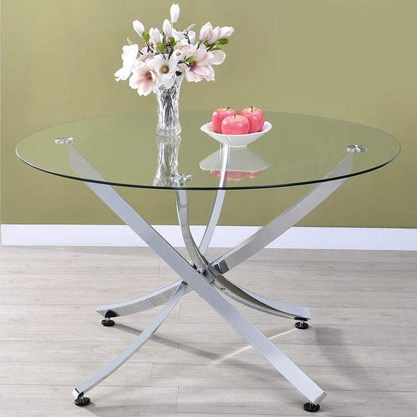 Magnificent Shop Modern Chrome Artistic Design Round Dining Table With Home Remodeling Inspirations Genioncuboardxyz