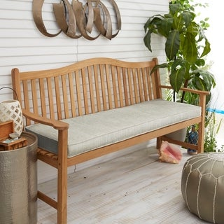 """Link to Sunbrella Granite Grey Indoor/Outdoor Bench Cushion 37"""" to 48"""", Corded Similar Items in Patio Furniture"""