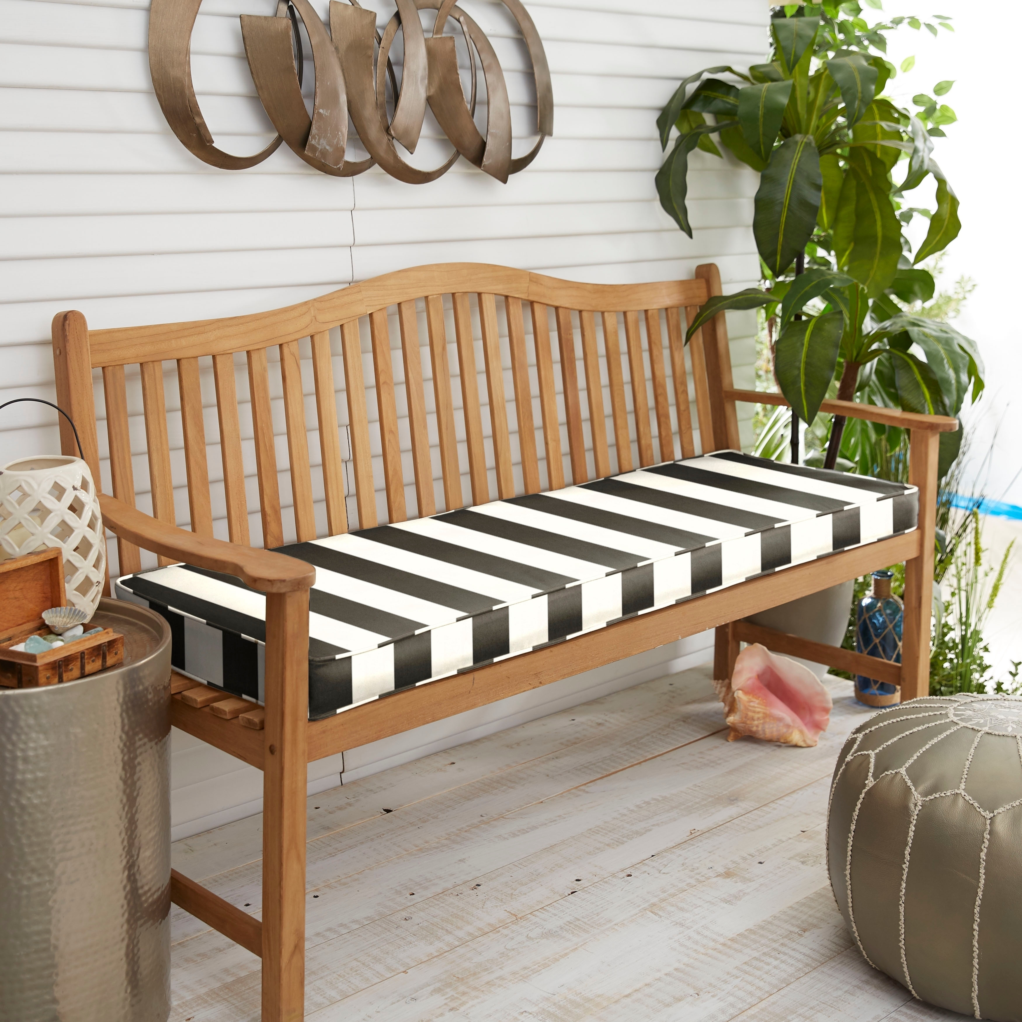 Sunbrella Black White Stripe Indoor Outdoor Bench Cushion 37 To 48 Corded Overstock 23561710