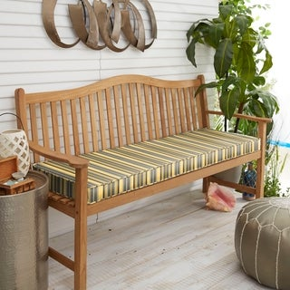 "Sunbrella Yellow Grey Stripe Indoor/Outdoor Bench Cushion 37"" to 48"", Corded"