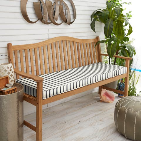 """Sunbrella Blue White Stripe Indoor/Outdoor Bench Cushion 37"""" to 48"""", Corded"""