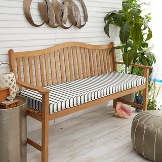 "Sunbrella Blue White Stripe Indoor/Outdoor Bench Cushion 37"" to 48"", Corded"