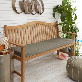 "Sunbrella Dark Grey Indoor/Outdoor Bench Cushion 55"" to 60"", Corded"