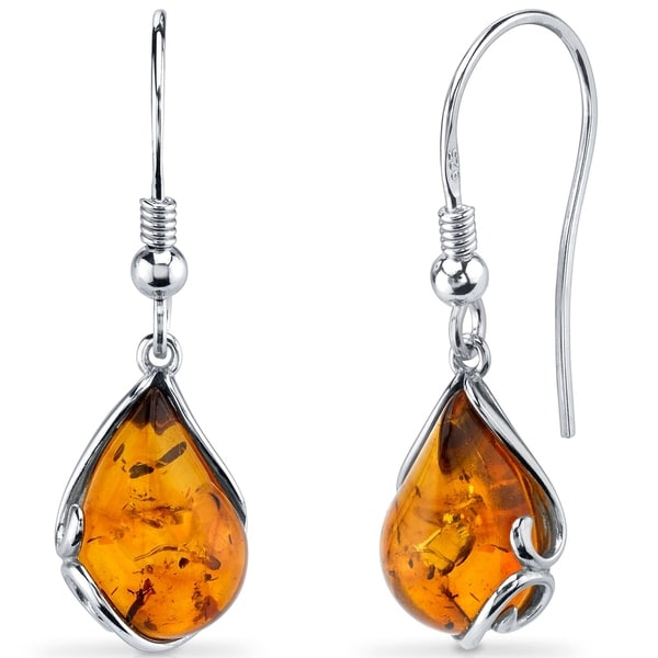 942129730 Shop Baltic Amber Tear Drop Earrings Sterling Silver Cognac Color Fish Hook  - Orange - On Sale - Free Shipping On Orders Over $45 - Overstock - 23561757