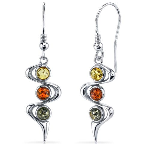 Three Stone Baltic Amber Earrings Sterling Silver Green Honey Cognac Colors - Orange