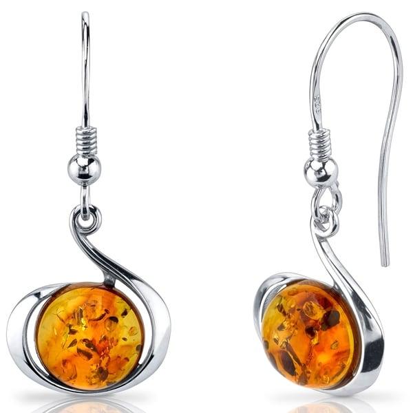 Baltic Amber Fishhook Earrings Sterling Silver Cognac Color Round Shape - Orange. Opens flyout.