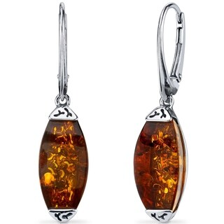 Baltic Amber Gallery Earrings Sterling Silver Cognac Color - Orange