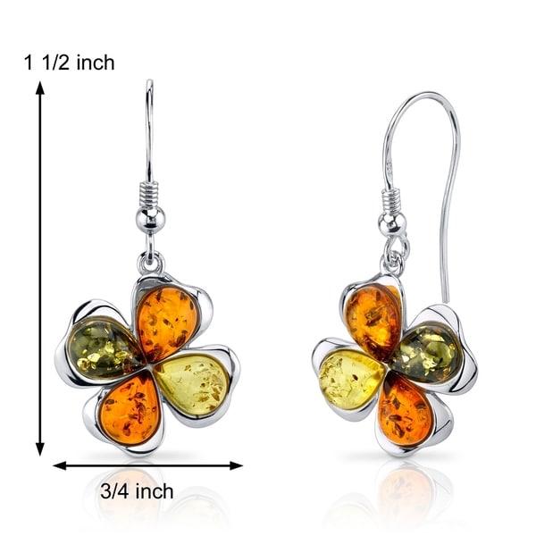 Sterling Silver Amber Clover Leaf Leverback Earrings