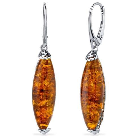 Baltic Amber Earrings Sterling Silver Cognac Color - Orange