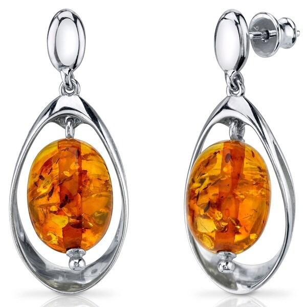a86456abaace9 Baltic Amber Earrings Sterling Silver Cognac Color Oval Shape - Orange