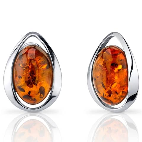 Baltic Amber Stud Earrings Sterling Silver Cognac Color Oval Shape - Orange