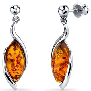 Baltic Amber Earrings Sterling Silver Cognac Color Marquise Shape - Orange