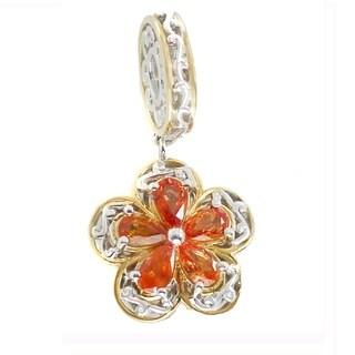 Michael Valitutti Palladium Silver Pear Orange Sapphire Flower Charm