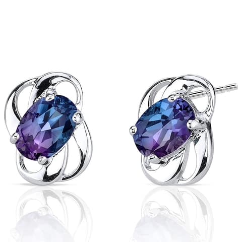 Simulated Alexandrite Earrings Sterling Silver 2.00 Carats - n/a