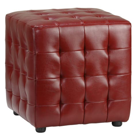 Cortesi Home Izzo Tufted Cherry Red Bonded Leather Cube Ottoman