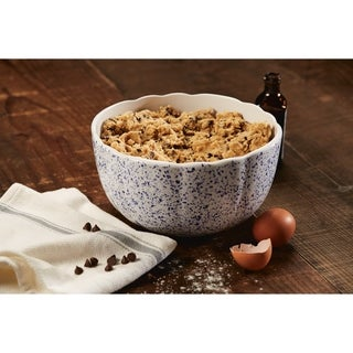 Paula Deen Stoneware Ceramic Mixing Bowl, 3-Quart, Seaspray White