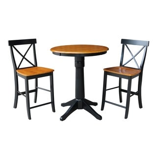"""30"""" Round Pedestal Gathering Height Table With 2 X-Back Stools"""