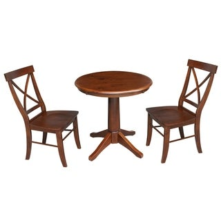 """30"""" Round Top Pedestal Table With 2 Chairs - Espresso"""