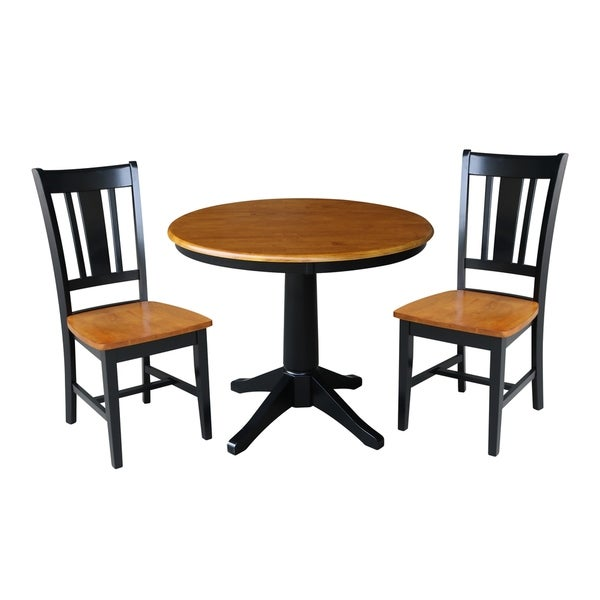 "36"" Round Top Pedestal Dining Table - With 2 San Remo Chairs"