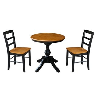 Round Top Pedestal Dining Table With 2 Madrid Chairs - Black/Cherry