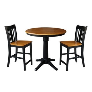 """36"""" Round Pedestal Gathering Height Table With 2 Stools - Black/Cherry"""