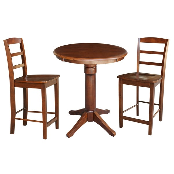 Round Pedestal Gathering Height Table With 2 Counter Height Stools - Espresso