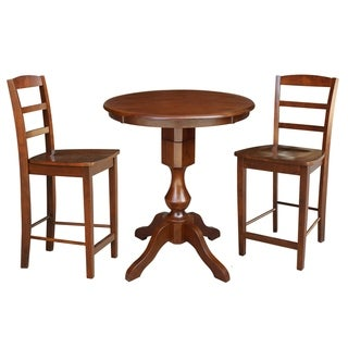 Round Pedestal Counter Height Table With 2 Stools - Espresso